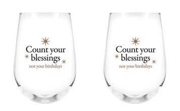 Count Your Blessings Not Your Birthdays Stemless Wine Glass, 17 oz, Set of 2