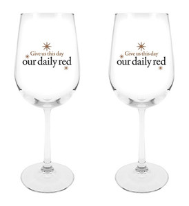 Give Us This Day Our Daily Red Star Design Wine Glass, 18 1/2 oz, Set of 2
