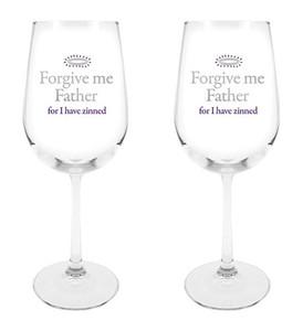 Forgive Me Father I Have Zinned Wine Glass, 18 1/2 oz, Set of 2