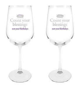 Count Your Blessings Not Your Birthdays Wine Glass, 18 1/2 oz, Set of 2