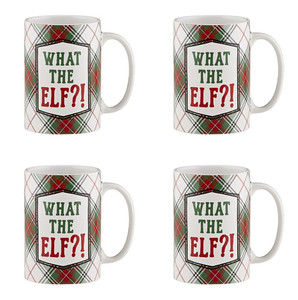 Holiday Plaidness What the Elf?! Ceramic Christmas Mug, 16 oz, Set of 4
