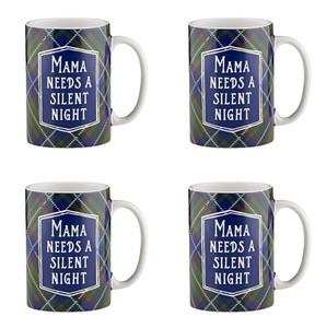 Holiday Plaidness Mama Needs a Silent Night Ceramic Christmas Mug, 16 oz, Set of 4