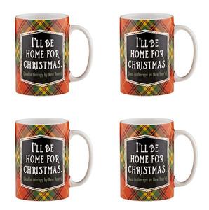 Holiday Plaidness I'll Be Home for Christmas Ceramic Christmas Mug, 16 oz, Set of 4