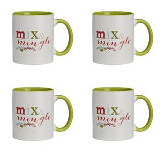 Jingle Jolly Mix and Mingle Ceramic Christmas Mug, 11 oz, Set of 4