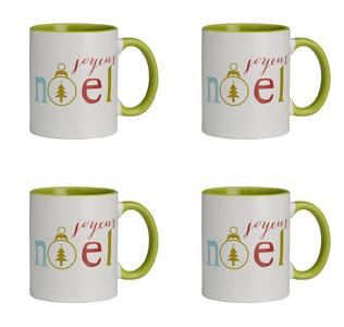 Jingle Jolly Joyeux Noel Ceramic Christmas Mug, 11 oz, Set of 4