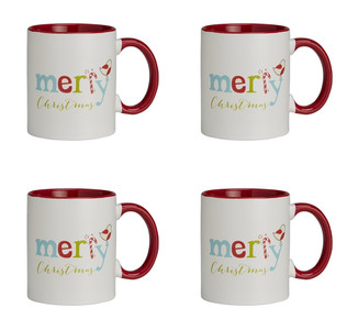 Jingle Jolly Merry Christmas Ceramic Christmas Mug, 11 oz, Set of 4