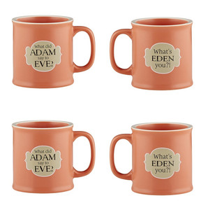 Old Testamugs What's Eden You? Ceramic Coffee Mug, 15 oz, Set of 4