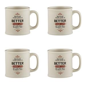 Joy From Psalms Better Than Life with Psalm 63:3 Verse Ceramic Coffee Mug, 15 oz, Set of 4
