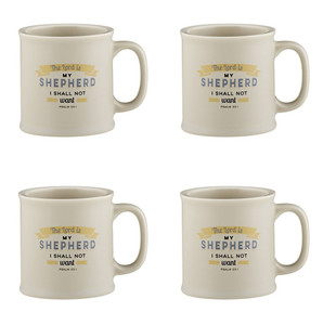 Joy From Psalms The Lord is My Shepherd with Psalm 48:1 Verse Ceramic Coffee Mug, 15 oz, Set of 4
