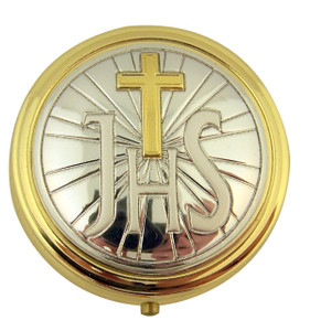 Gold and Silver Tone Sacred Heart of Jesus Pyx with Locking Hinge and Liner, 2 Inch