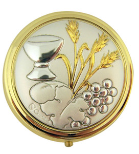 Gold and Silver Tone Chalice Wheat and Grapes Pyx with Locking Hinge and Liner, 2 Inch