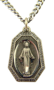 Pewter Miraculous Medal Pendant with Bright Cut Accents, 15/16 Inch