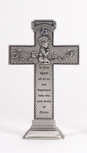Baby's Baptism Standing Pewter Cross with Praying Boy, 6 Inch
