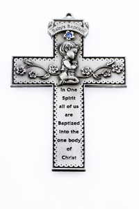 Baby's Baptism Pewter Wall Cross with Blue Stone and Praying Boy, 5 Inch