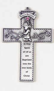 Baby's Baptism Pewter Wall Cross with Pink Stone and Praying Girl, 5 Inch