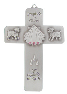 Girls Baptized in Christ Pewter Wall Cross with Pink Stones, 5 Inch