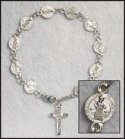 Catholic St. Benedict Exorcism Medal Rosary Bracelet