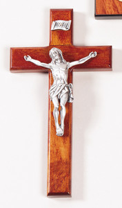 Cherry Wood Cross Crucifix with Antique Finish Pewter Christ Corpus, 8 Inch