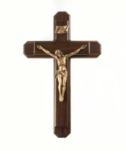 Pastoral Sick Call Set Walnut Wood and Gold Toned Pewter Corpus Crucifix, 13 Inch