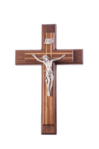 Pastoral Sick Call Set Walnut and Oak Inlay Crucifix with Pewter Corpus, 13 Inch