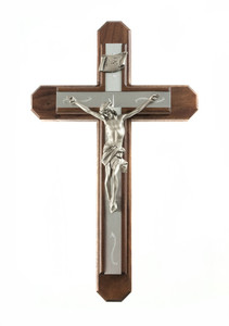 Pastoral Sick Call Set Walnut Wood Crucifix with Metal Inlay Cross, 15 Inch