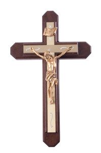 Pastoral Sick Call Set Walnut Wood with Gold Tone Metallic Inlay Cross Crucifix, 15 Inch