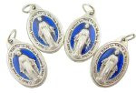 Lot of 4!! Mens Womens Catholic Gift Silver Tone Royal Blue Enamel Blessed Mary Miraculous Medal Devotional Charm Pendant