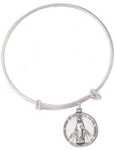 Child's Silver Tone Bangle Bracelet with Pewter Miraculous Medal, 6 1/2 Inch