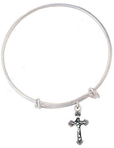 Child's Silver Tone Bangle Bracelet with Pewter Crucifix Medal, 6 1/2 Inch