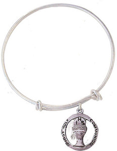Child's Silver Tone Bangle Bracelet with Pewter First Communion Medal, 6 1/2 Inch