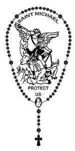 "Rosary Catholic Auto Metalic Car Decal Christian Saint Michael Religious 4 3/4"""