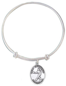 Girls Silver Tone Bangle Bracelet with Saint Christopher Softball Medal, 7 1/2 Inch