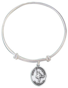 Girls Silver Tone Bangle Bracelet with Saint Christopher Ballet Medal, 7 1/2 Inch