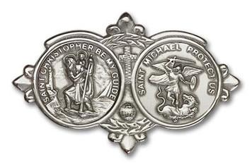 Antique Silver Tone St. Christopher / St Michael Visor Clip
