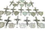 "Lot of 30! Silver Tone 7/8"" Saint St Benedict Medal Centerpiece with 1 1/4"" Crucifix Cross"