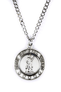 Sterling Silver Saint Michael Protect Me Military Medal, 3/4 Inch (Army National Guard)