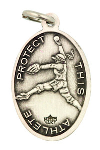 Saint St Sebastian 7/8 Inch Sterling Silver Medal for Girl Softball Athlete