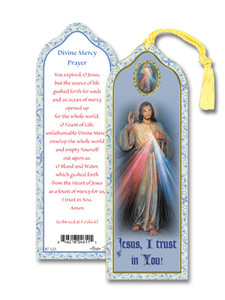 Laminated Divine Mercy Bookmark with Gold Foil Stamping and Enameled Medal, Pack of 10
