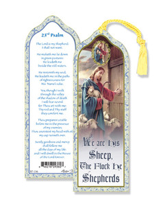Laminated 23rd Psalm Bookmark with Gold Foil Stamping and Enameled Medal, Pack of 10