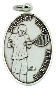 Saint St Sebastian 1 1/16 Inch Sterling Silver Medal for Tennis Athlete
