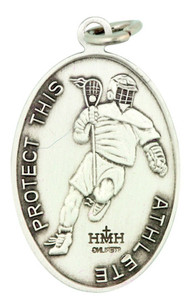 Saint St Sebastian 1 1/16 Inch Sterling Silver Medal for Lacrosse Athlete