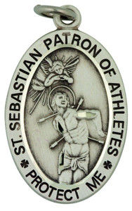 Saint St Sebastian 1 1/16 Inch Sterling Silver Medal for Martial Arts Athlete