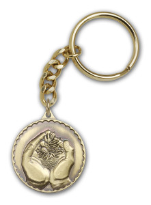 Antique Gold Faith Hand Serenity Keychain