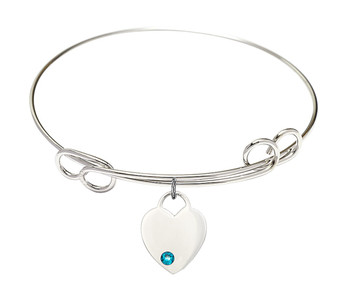 Rhodium Plate Double Loop Bangle Bracelet with December Birthstone Heart Charm, 7 1/2 Inch