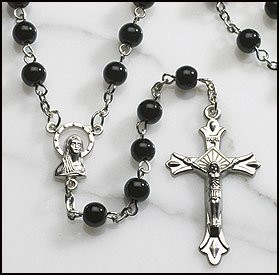 Black Glass Beads Rosary