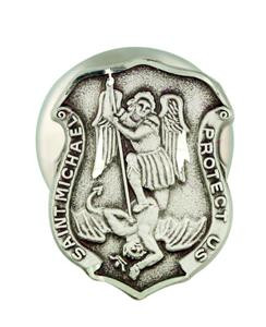 Archangel Saint St Michael Protect Us 1/2 Inch Sterling Silver Lapel Pin