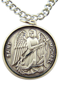 "Archangel Saint St Michael Slaying Dragon Medal 7/8"" Sterling Silver Pendant"