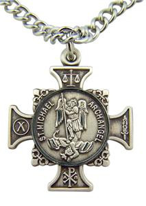 "Saint Michael Quis Et Dues ""Who is Like God"" Cross 7/8"" Sterling Silver Pendant"
