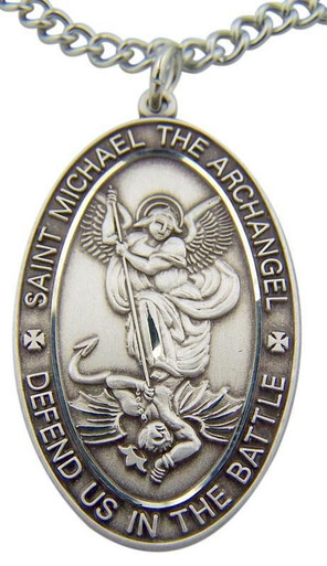saint sells with badge and shaped necklace silver michael shop sterling pendants st free medals medal catholic shipping gifts jewelry