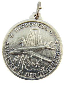 1-inch Silver Tone Our Lady of Loreto Patron Aviators and Air Travel Flight Protection Medal